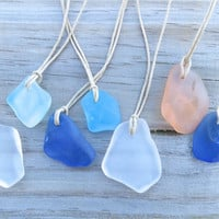 Cobalt Blue Sea Glass  Beach  Necklace Surfer