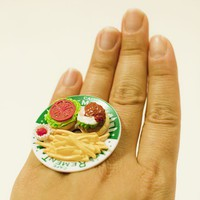 Kawaii Miniature Food Rings  French Fries and by fingerfooddelight