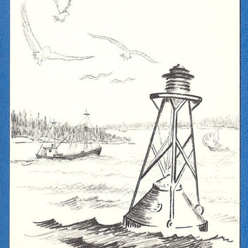 Light Buoy Maine Coast by Elsa West, Vintage unused postcard, Portland ME