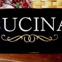 Primitive CUCINA Wood Sign for Italian Kitchen by CountryWorkshop