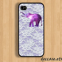 IPHONE 5 CASE Galaxy Space nebular elephant on lace work iPhone 4 case iPhone 4S case iPhone case Hard Plastic Case Soft Rubber Case