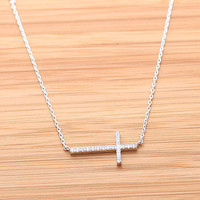girlsluv.it - SIDEWAYS CROSS necklace with swarovski crystals, 2colors(plated, 925sterling)