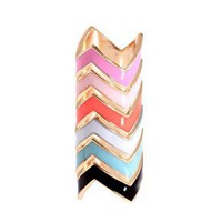 ASOS | ASOS Pack of Six Enamel Zig Zag Rings at ASOS