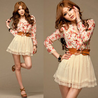Casual Womens Floral Printed Chiffon Blouse Tulle Mini Dress Tunic Slim Belt vk