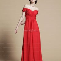 Find affordable Sheath/Column Off-the-shoulder Chiffon Floor-length Red Draped Prom Dresses