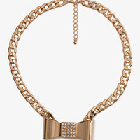 Curb Chain Bow Necklace | FOREVER 21 - 1023788004