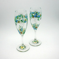 Hand painted Blue Rose and Daisy Libbey by PaintedDesignsByLona