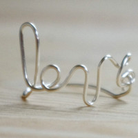 Love ring, silver ring, wire wrapped ring