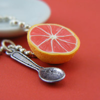 $13.50 Grapefruit Snack Necklace by shayaaron on Etsy