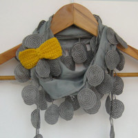 Gray cotton lace scarf with crocheted bow brooch by sascarves