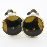 Black Cat Clip on Earrings - Black Gold Small Silver Round Pet Clip Earrings