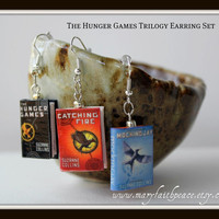 THE HUNGER GAMES Book Earrings from Durable Clay by maryfaithpeace