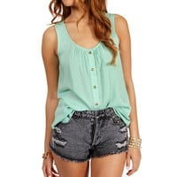 Mint Sleeveless Button Front Top