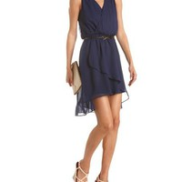 Bow Belt Draped Hi-Low Dress: Charlotte Russe