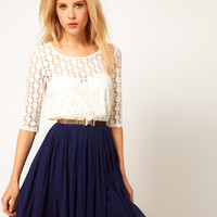 ASOS Skater Dress With Spot Lace &amp; Mesh Skirt