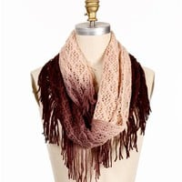 SALE-Plum Fringe Crochet Scarf