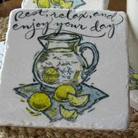 Summer Lemonade Absorbent Tile Coasters Set of 4 by MyLittleChick