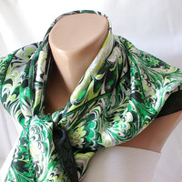 Marbled Design..Silk... Scarf...Green, Yellow, white, black