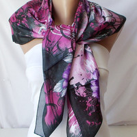Pink and Black..Satin... Scarf..