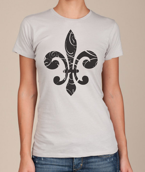 Women&#x27;s tshirt Silver Fleur de Lis american apparel by happyfamily
