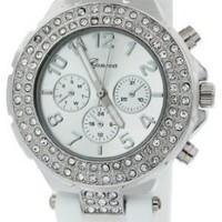 Geneva Women`s Silicone Designer Watch with Baguette Stones Bezel: Watches: Amazon.com