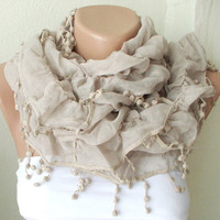 NEW 2012 Spring Model  Beige Color Ruffle Scarf from 100 by Periay
