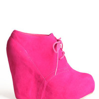 Fuchsia Kiss Wedge Bootie - &amp;#36;45.00 : ThreadSence.com, Your Spot For Indie Clothing  Indie Urban Culture