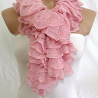 Ruffle Scarf, Frilly Scarf, Knitted Ruffled Scarf (Pink), Christmas,gift by Arzu&#x27;s Style