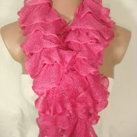 Ruffle Scarf, Frilly Scarf, Knitted Ruffled Scarf (Fuchsia) for Women by Arzu's Style