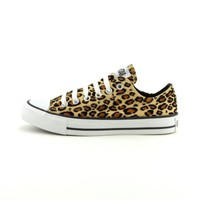 Converse All Star Lo Athletic Shoe, Tan Leopard