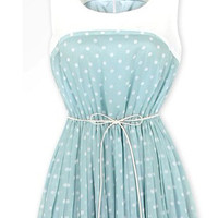 STYLISH POLKA DOT PLEATED DRESS