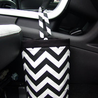 Car Trash Bag Chevron Black and White Car Accessories