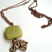 Elephant Jade Necklace by OliveTreeHandmade on Etsy