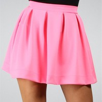 Hot Pink Back Zipper Skirt