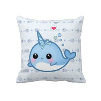 Cute baby narwhal pillows from Zazzle.com