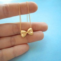 pasta necklace, Farfalle gold necklace