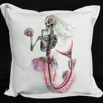 Mermaid Cushion Cover Cotton 15x15 inches by wengergirl on Etsy