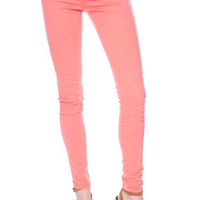 Colored Skinny Jeans in Coral :: tobi