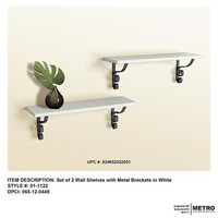 2pc Wall Shelf with metal bracket set-White