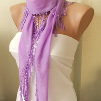 Lilac Scarf 100 Cotton Spring with Lace by Periay on Etsy