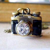 Camera Locket Necklace Rhinestone Crystal Lens by waterwaif
