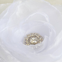 bridal hair flower with swarovski rhinestone white organza alligator clip flower bridal hair accessory wedding accessory bridesmaids gift