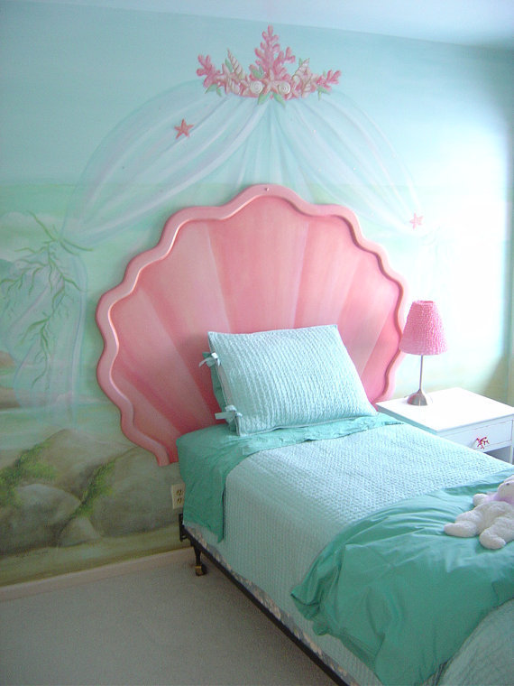 Mermaid Shell Headboard and Custom Bulletin Board by StickyPixies