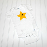READY TO SHIP Onesuit Super Mario Star by LindaSumnerDesigns