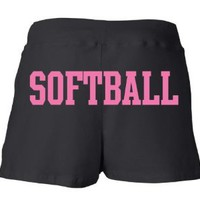 Juniors Black Softball Heart Shorts S-XXL: Clothing