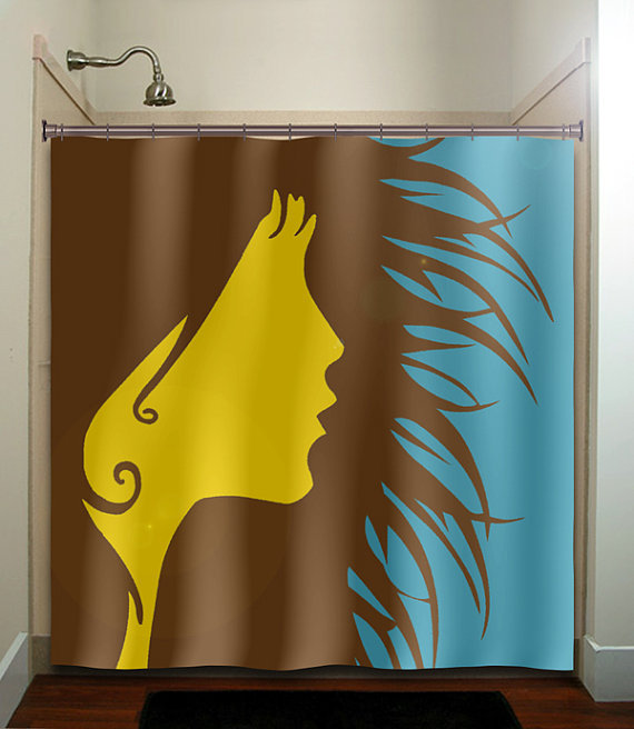 Brown yellow blue wild hair girl woman from tablishedworks on for Yellow and brown bathroom decor