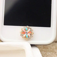 1PC  Colorful Chrysanthemum Flower w/Dimaonded Frame Apple iPhone Home Button Sticker, Cell Phone Charm for iPhone 5,4,4g,4s, iPad