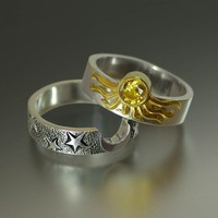 Sun and Moon ECLIPSE Engagement Ring and Wedding Band Set in 18K and 14K gold