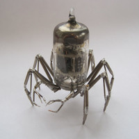 Vacuum Tube Mechanical Spider Sculpture No 1 Recycled Watch Parts Clockwork Arachnid Figurine Stems Lightbulb Arthropod A Mechanical Mind
