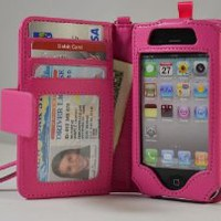 Folio Wallet iPhone 4 iPhone 4S Case for AT&T Verizon & other carriers - Hot Pink - Multifunctional Case - Premium Quality - Inside Surface